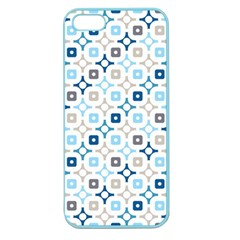 Plaid Line Chevron Wave Blue Grey Circle Apple Seamless Iphone 5 Case (color) by Alisyart