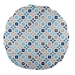 Plaid Line Chevron Wave Blue Grey Circle Large 18  Premium Flano Round Cushions by Alisyart