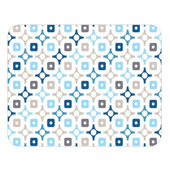 Plaid Line Chevron Wave Blue Grey Circle Double Sided Flano Blanket (Large)