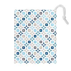 Plaid Line Chevron Wave Blue Grey Circle Drawstring Pouches (extra Large) by Alisyart