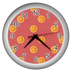 Oranges Lime Fruit Red Circle Wall Clocks (silver)  by Alisyart