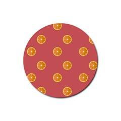 Oranges Lime Fruit Red Circle Rubber Coaster (round)  by Alisyart