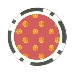 Oranges Lime Fruit Red Circle Poker Chip Card Guard (10 Pack) by Alisyart