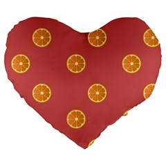 Oranges Lime Fruit Red Circle Large 19  Premium Heart Shape Cushions by Alisyart