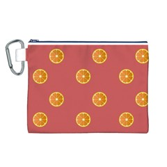 Oranges Lime Fruit Red Circle Canvas Cosmetic Bag (l) by Alisyart