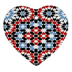 Oriental Star Plaid Triangle Red Black Blue White Ornament (heart) by Alisyart