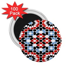 Oriental Star Plaid Triangle Red Black Blue White 2 25  Magnets (100 Pack)  by Alisyart