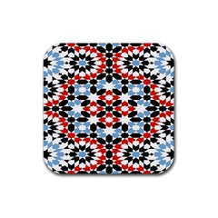 Oriental Star Plaid Triangle Red Black Blue White Rubber Square Coaster (4 Pack)  by Alisyart