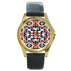 Oriental Star Plaid Triangle Red Black Blue White Round Gold Metal Watch by Alisyart