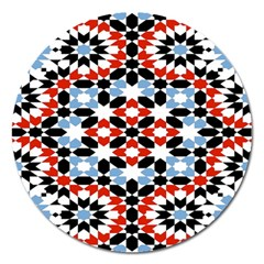 Oriental Star Plaid Triangle Red Black Blue White Magnet 5  (round) by Alisyart