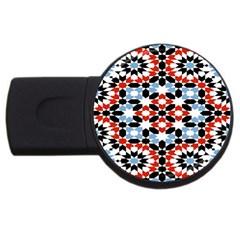 Oriental Star Plaid Triangle Red Black Blue White Usb Flash Drive Round (2 Gb) by Alisyart