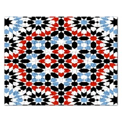 Oriental Star Plaid Triangle Red Black Blue White Rectangular Jigsaw Puzzl by Alisyart