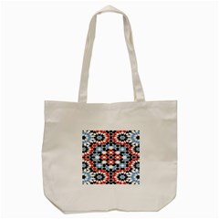 Oriental Star Plaid Triangle Red Black Blue White Tote Bag (cream) by Alisyart