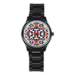 Oriental Star Plaid Triangle Red Black Blue White Stainless Steel Round Watch by Alisyart
