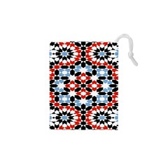 Oriental Star Plaid Triangle Red Black Blue White Drawstring Pouches (xs)  by Alisyart
