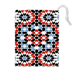 Oriental Star Plaid Triangle Red Black Blue White Drawstring Pouches (extra Large) by Alisyart