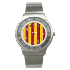 Red Yellow Flag Stainless Steel Watch by Alisyart