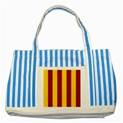 Red Yellow Flag Striped Blue Tote Bag by Alisyart