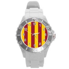 Red Yellow Flag Round Plastic Sport Watch (l) by Alisyart