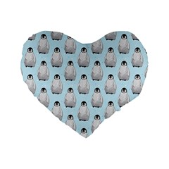 Penguin Animals Ice Snow Blue Cool Standard 16  Premium Heart Shape Cushions by Alisyart