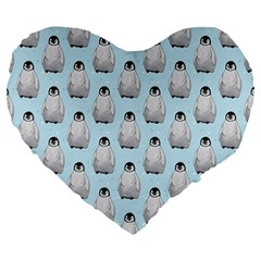 Penguin Animals Ice Snow Blue Cool Large 19  Premium Heart Shape Cushions by Alisyart