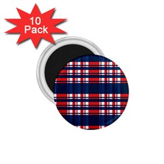 Plaid Red White Blue 1 75  Magnets (10 Pack)  by Alisyart
