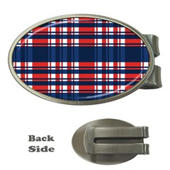 Plaid Red White Blue Money Clips (oval)  by Alisyart