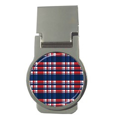 Plaid Red White Blue Money Clips (round)  by Alisyart