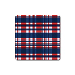 Plaid Red White Blue Square Magnet by Alisyart