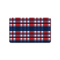 Plaid Red White Blue Magnet (name Card) by Alisyart