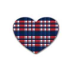 Plaid Red White Blue Heart Coaster (4 Pack)  by Alisyart