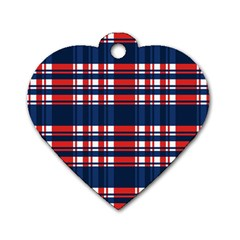 Plaid Red White Blue Dog Tag Heart (one Side) by Alisyart