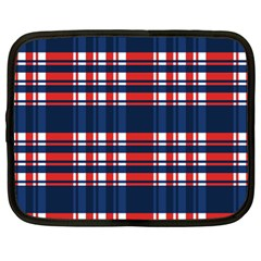 Plaid Red White Blue Netbook Case (xl)  by Alisyart