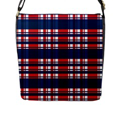 Plaid Red White Blue Flap Messenger Bag (l)  by Alisyart