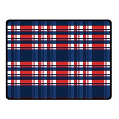 Plaid Red White Blue Double Sided Fleece Blanket (small)  by Alisyart