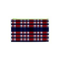 Plaid Red White Blue Cosmetic Bag (xs) by Alisyart