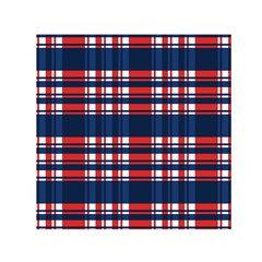 Plaid Red White Blue Small Satin Scarf (square) by Alisyart