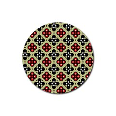 Seamless Floral Flower Star Red Black Grey Rubber Coaster (round)  by Alisyart