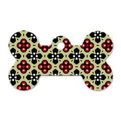 Seamless Floral Flower Star Red Black Grey Dog Tag Bone (one Side) by Alisyart