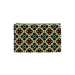 Seamless Floral Flower Star Red Black Grey Cosmetic Bag (small)  by Alisyart