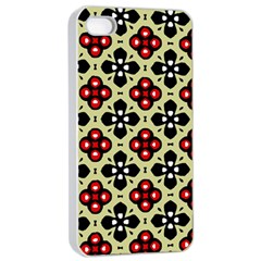 Seamless Floral Flower Star Red Black Grey Apple Iphone 4/4s Seamless Case (white) by Alisyart