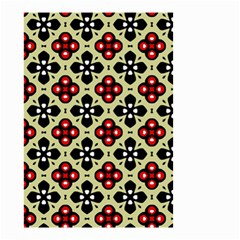 Seamless Floral Flower Star Red Black Grey Small Garden Flag (two Sides) by Alisyart