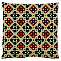 Seamless Floral Flower Star Red Black Grey Large Cushion Case (two Sides)