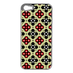 Seamless Floral Flower Star Red Black Grey Apple Iphone 5 Case (silver) by Alisyart