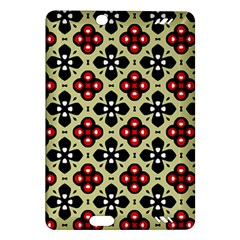 Seamless Floral Flower Star Red Black Grey Amazon Kindle Fire Hd (2013) Hardshell Case by Alisyart