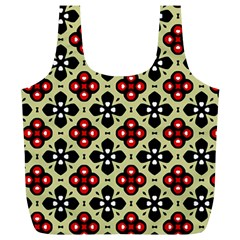 Seamless Floral Flower Star Red Black Grey Full Print Recycle Bags (l)  by Alisyart