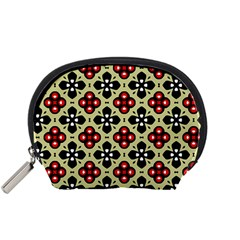 Seamless Floral Flower Star Red Black Grey Accessory Pouches (small)  by Alisyart