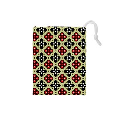 Seamless Floral Flower Star Red Black Grey Drawstring Pouches (small)  by Alisyart