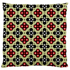 Seamless Floral Flower Star Red Black Grey Large Flano Cushion Case (two Sides) by Alisyart