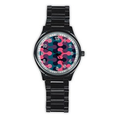 Symmetry Celtic Knots Contemporary Fabric Puzzel Stainless Steel Round Watch by Alisyart